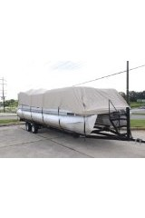BRAND NEW VORTEX ULTRA PONTOON BOAT COVER, BEST AVAILABLE, TRI-PURPOSE, FOR STORAGE, MOORING, OR TRAILERING, HAS ELASTIC AND STRAPS FITS 21 22 23 24 FT LONG PLAYPEN AREA BEIGE/TAN