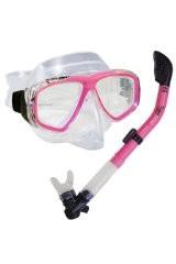 PROMATE Snorkeling Scuba Dive DRY Snorkel PURGE Mask Gear Set, Pink
